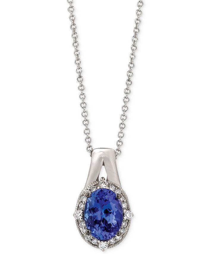 Le Vian - Tanzanite (1 ct. t.w.) and Diamond (1/10 ct. t.w.) Oval Pendant Necklace in 14k White Gold