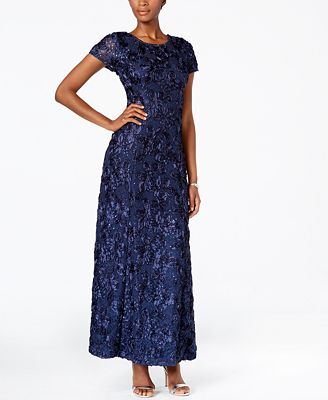 Alex Evenings Rosette A-Line Gown - Dresses - Women - Macy's