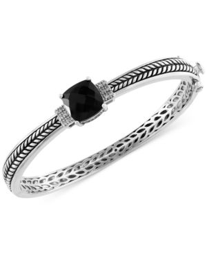 Effy Onyx (4-1/5 ct. t.w.) and Diamond Accent Bangle Bracelet in Sterling Silver -  Effy Collection