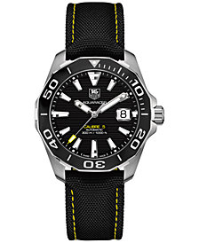 TAG Heuer Men's Swiss Automatic Aquaracer Calibre 5 Black Nylon Strap Watch 41mm WAY211A.FC6362