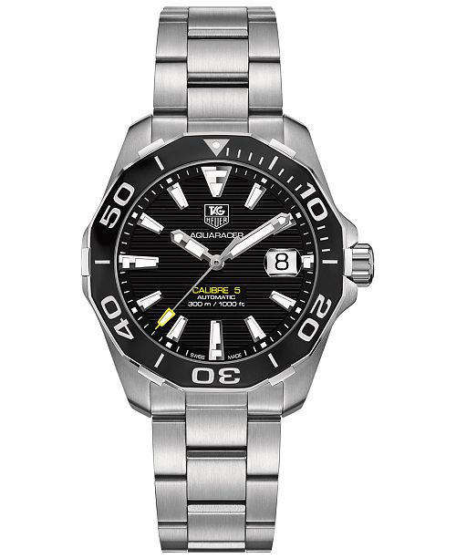70d80eac544 ... TAG Heuer Men's Swiss Automatic Aquaracer Calibre 5 Stainless Steel  Bracelet Watch ...