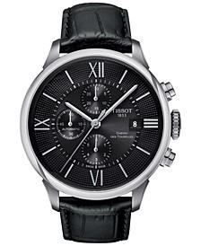 Men's Swiss Automatic Chronograph Chemin Des Tourelles Black Leather Strap Watch 44mm T0994271605800
