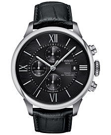 Tissot Men's Swiss Automatic Chronograph Chemin Des Tourelles Black Leather Strap Watch 44mm T0994271605800