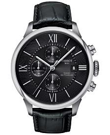 Tissot Men's Swiss Automatic Chronograph Chemin Des Tourelles Black Leather Strap Watch 44mm T0994271605800