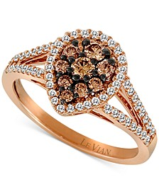 Chocolatier® Diamond Teardrop Split Shank Ring (3/4 ct. t.w.) in 14k Rose Gold