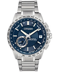 Citizen Men's Eco-Drive Satellite Wave World Time GPS Stainless Steel Bracelet Watch 44mm CC3000-89L