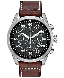 Citizen Mens Chronograph Eco Drive Brown Leather Strap Watch 45mm Ca4210 24e