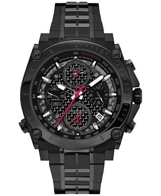 Bulova Men's Chronograph Calendar Black Stainless Steel Bracelet Watch 44mm 98B257