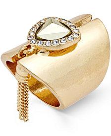 Thalia Sodi Gold-Tone Stone, Crystal and Fringe Statement Ring, Created for Macy's