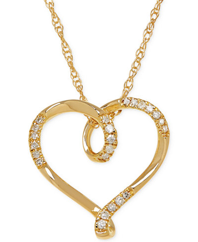 Diamond Heart Pendant Necklace (1/10 ct. t.w.) in 10k Gold