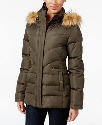 Larry Levine Faux Fur Hood Down Puffer Jacket Coats