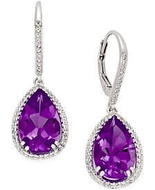 Amethyst (8 ct. t.w.) and White Topaz Earrings (1/2 ct. t.w.) in Sterling Silver
