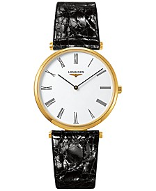 Men's Swiss La Grande Classique de Longines Black Alligator Strap Watch 36mm L47552112