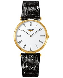 Longines Men's Swiss La Grande Classique de Longines Black Alligator Strap Watch 36mm L47552112