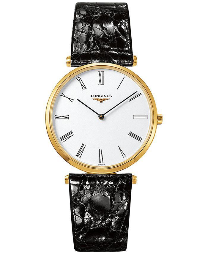Longines - Men's Swiss La Grande Classique de  Black Alligator Strap Watch 36mm L47552112