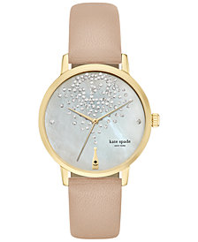 kate spade new york Women's Metro Tan Vachetta Leather Strap Watch 34mm KSW1015
