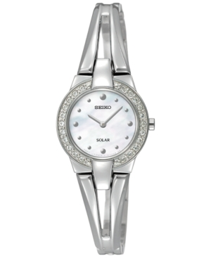 Seiko Women's Solar Tressia Stainless Steel Bangle Bracelet Watch 30mm SUP231 - A Macy's Exclusive