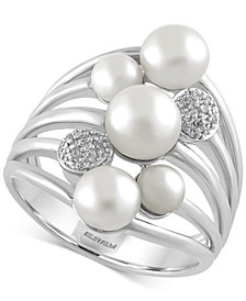 EFFY Cultured Freshwater Pearl (4mm-6.5mm) and Diamond Accent Ring in Sterling Silver
