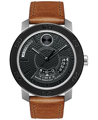 Movado Men's Swiss Bold Brown Leather Strap Watch 46mm 3600361