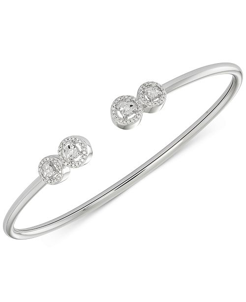 Wrapped Diamond Cluster Bangle Bracelet (1/6 ct. t.w.) in Sterling Silver, Created for Macy's
