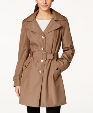 PETITE HOODED SINGLE-BREASTED TRENCH COAT, CREATED FOR MACY'S