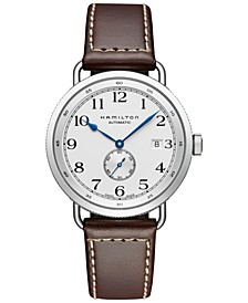 Men's Swiss Automatic Khaki Navy Pioneer Brown Calf Leather Strap Watch 40mm H78465553
