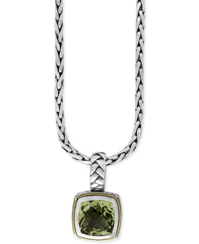 BALISSIMA by EFFY Green Amethyst (4 ct. t.w.) Pendant Necklace in 18k Gold and Sterling Silver