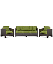 CLOSEOUT! Katalina Outdoor Wicker 3-Pc. Seating Set (1 Sofa and 2 Club Chairs), Created for Macy's