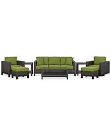 CLOSEOUT! Katalina Outdoor Wicker 8-Pc. Seating Set (1 Sofa, 2 Club Chairs, 1 Coffee Table, 2 Ottoman and 2 End Tables), Created for Macy's