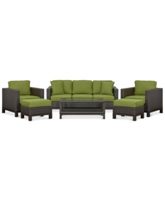 Katalina Outdoor Wicker 6 Pc. Seating Set (1 Sofa, 2 Club Chairs, 1 Coffee  Table And 2 Ottomans), Created For Macyu0027s