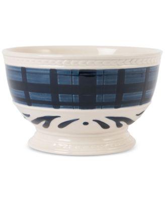 Stoneware Bristol Indigo Tartan Soup Bowl