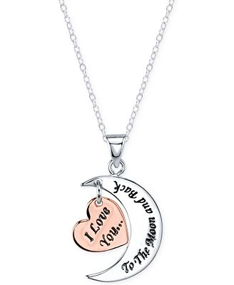 Unwritten 18 i love you to the moon and back pendant necklace in unwritten 18 i love you to the moon and back pendant necklace in sterling silver and rose gold flashed sterling silver mozeypictures Choice Image