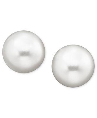 Bella Pearls 8 mm Round Freshwater Pearl Stud Earrings