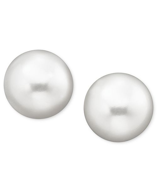 Pearl Earrings 14k Gold Cultured Freshwater Stud 10mm Also Available In Pink