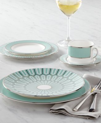 The Brian Gluckstein by Lenox collection Clara bone china features a combination of art deco-inspired and modern motifs for a beautiful and versatile look ... & Lenox Brian Gluckstein by Dinnerware Clara Aqua Collection - Fine ...