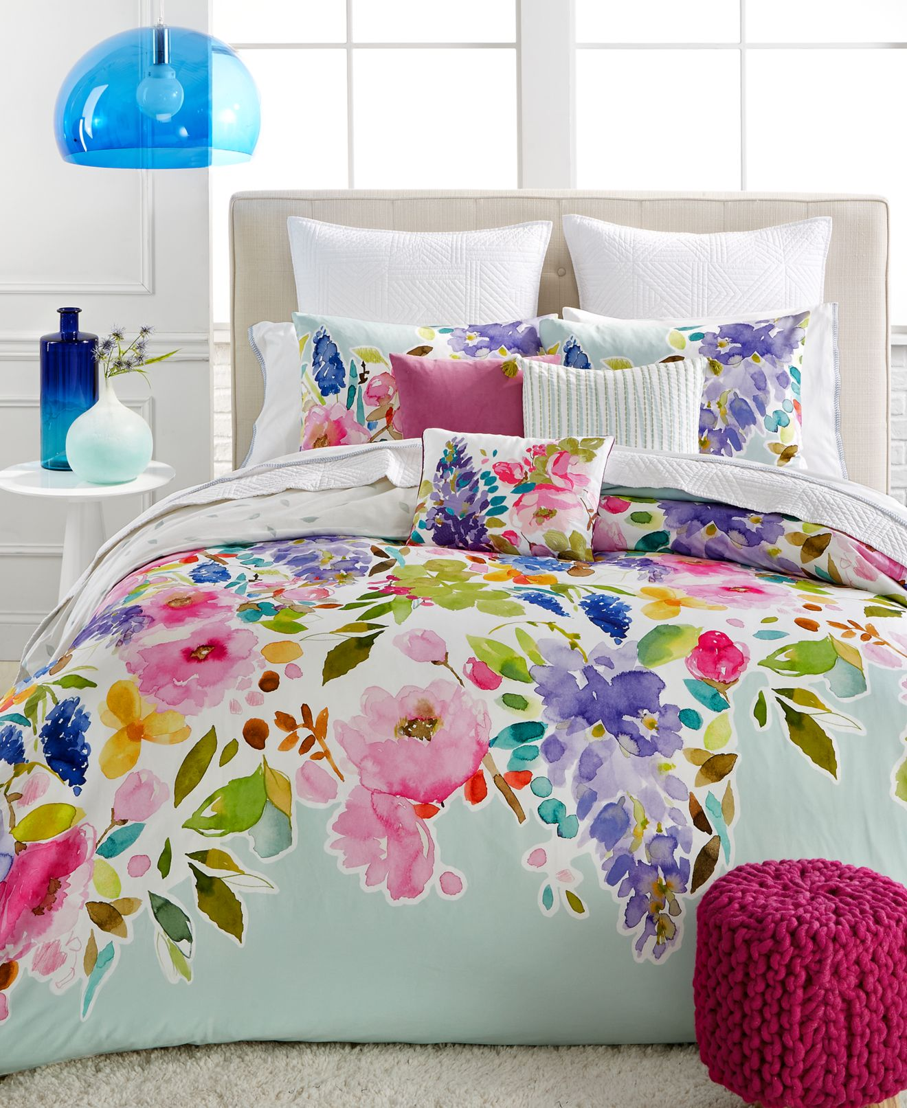 bluebellgray wisteria mint bedding collection, 100% cotton, a