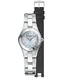Women's Swiss Linea Diamond Accent Stainless Steel Bracelet Watch with Interchangeable Strap Set 27mm