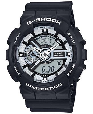 G-Shock Men's Analog-Digital Black and White Black