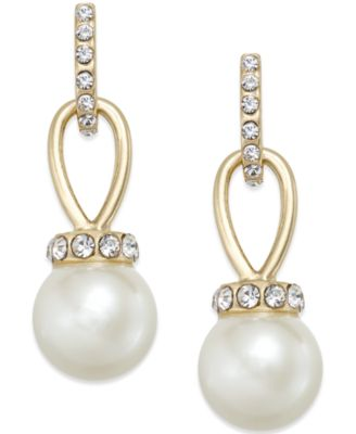 Image of Charter Club Imitation Pearl and Pavé Drop Earrings, Only at Macy's