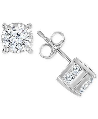 Trumiracle Diamond Stud Earrings 1 ct t w in 14k Gold Rose