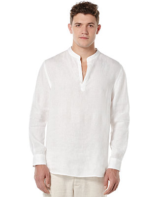 Perry Ellis Men S Solid Linen Popover Shirt Casual
