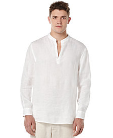 Perry Ellis Men's Solid Linen Popover Shirt