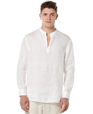 Perry Ellis Men's Solid Linen Popover Shirt - Casual Button-Down ...