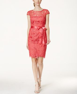 Lace Cap-Sleeve Illusion Sheath Dress