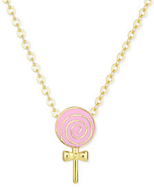 Children's Enamel Lollipop Pendant Necklace in 18k Gold over Sterling Silver