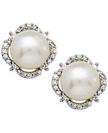 Honora Cultured Freshwater Pearl (7mm) & Diamond (1/6 ct. t.w.) Halo Stud Earrings in 14k Gold