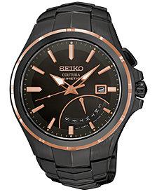 Seiko Men's Automatic Coutura Kinetic Retrograde Black Ion-Plated Bracelet Watch 43mm SRN066