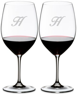 Vinum Monogram Collection 2-Pc. Script Letter Cabernet/Merlot Wine Glasses