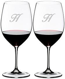 Riedel Vinum Monogram Collection 2-Pc. Script Letter Cabernet/Merlot Wine Glasses