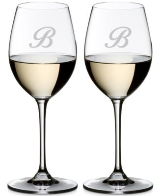 Vinum Monogram Collection 2-Pc. Script Letter Sauvignon Blanc Wine Glasses